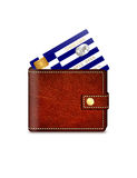 Greek credit card in wallet over white background Royalty Free Stock Image