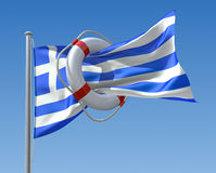 Greek crisis. 3D concept with lifebuoy and greek flag Stock Image