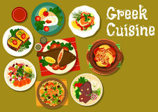 Greek cuisine dishes with fish and lamb icon Royalty Free Stock Photo