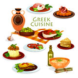 Greek cuisine healthy lunch dishes cartoon icon Stock Photography