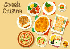 Greek cuisine healthy lunch icon for food design. Greek cuisine healthy lunch icon with vegetable meat casserole moussaka, fried feta cheese, fish roe spread Royalty Free Stock Photos