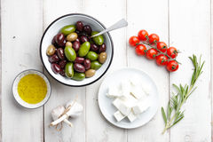 Greek cuisine ingredients Royalty Free Stock Photography