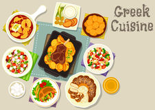 Greek cuisine lunch with dessert icon Royalty Free Stock Photography