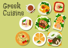 Greek cuisine lunch dishes for menu design. Greek cuisine lunch dishes icon with meat stew, garlic bread, stuffed grape leaf, tzatziki sauce, fish roe salad Stock Images