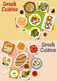 Greek cuisine lunch menu icon set for food design. Greek cuisine lunch menu icon set of vegetable salad with olive, cheese and seafood, meat dolma, meatball Stock Images