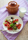 Greek cuisine: salad with olives Royalty Free Stock Images