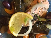 Greek Cuisine: Salmon, Onion, Lemon, Olives, Peppers and Dolmades Stock Photo