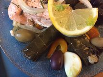 Greek Cuisine: Salmon, Onion, Lemon, Olives, Peppers, Garlic and Dolmades Stock Photos