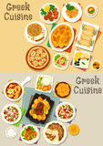 Greek cuisine tasty lunch dishes icon set Stock Photos