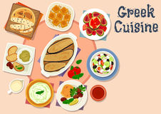 Greek cuisine tasty lunch dishes icon. Greek cuisine tasty dishes icon of vegetable salad with feta cheese, olive bread, fish roe and cucumber yogurt dip sauce Stock Images