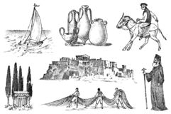 Greek culture. Set of national symbols. Sailboat and priest, jugs and fishing, trees, horse racing and ruins. Hand drawn vector illustration