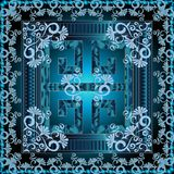 Greek 3d square panel pattern. Floral  blue shiny  vector backgr. Ound. Greek key, meander ornaments. Vintage flowers, swirls, leaves. Ornamental frame. Abstract Stock Photography