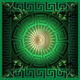 Greek 3d square panel pattern. Floral  green vector background. Meander ornamental frame. Greek key maze border, circle, gold sun, flowers. Round greek mandala Royalty Free Stock Photos