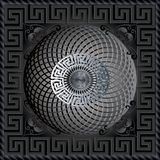 Greek 3d square panel pattern. Modern dark black vector backgrou. Nd. Meander ornamental frame. Greek key maze border, circle, flowers. Fractal round line art Royalty Free Stock Photo
