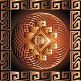 Greek 3d square panel. Seamless pattern. Modern vector backgrou. Nd. Meander ornamental frame. Greek key maze borders. Fractal round line art mandala. Tribal royalty free illustration