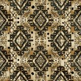 Greek 3d textured seamless pattern. Gold black lattice backgroun. D wallpaper with geometric shapes, rhombus, greek key, meanders, holes, stripes. Abstract Royalty Free Stock Photos