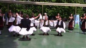 Greek dance. Group of men dancing popular Greek dance stock video footage