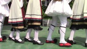 Greek dance. Group of men and women dancing popular Greek dance stock video