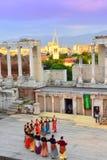 Greek dance group at Roman  Amphitheater Stock Photos