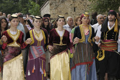 Greek dancers during the celebration of Dormition in Sumela monastery Stock Photos