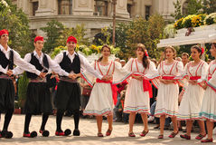Greek dancers. Greek men and women dancing at a folk festival in Bucharest, Romania