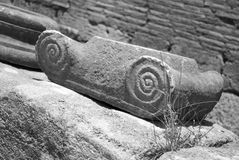 Greek Decoration. Black & white image of pillar decoration of ancient Greek architecture at Olympia Stock Image