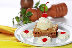 Greek dessert Baklava served with vanilla ice cream Royalty Free Stock Photos