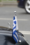 Greek diplomatic car flag Royalty Free Stock Images