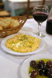 Greek dish of mushed salty cheese and spices Stock Photography
