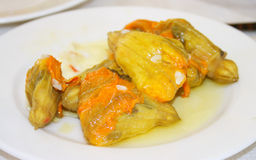 Greek dish: stuffed pumpkin flower Stock Image