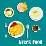 Greek Dishes Of Mediterranean Cuisine Stock Images