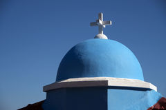 Greek dome. Aegean blue church dome in greece Royalty Free Stock Photos
