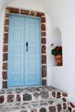Greek door. Photo of typical Greek blue door in Santorini, Greece Stock Photography