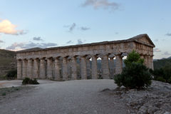 Greek Doric temple after sunset - Trapani province Royalty Free Stock Photography