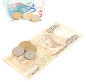 Greek drachma and euro banknotes Stock Photos