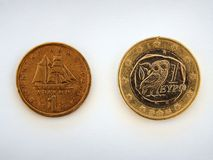 Greek Drachma and Euro Coins Royalty Free Stock Image