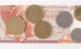 Greek drachmas. Banknotes and coins Royalty Free Stock Photo