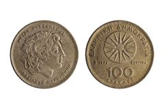 Greek 100 drachmas coin dated 1992 royalty free stock photography