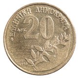 Greek drachmas coin. 20 Greek drachma isolated on a white background Stock Images