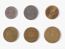 Greek drachmas. Coins full range - withdrawn in 2002 Stock Image