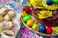 Greek Easter Food. Baking and coloured eggs decorate a Greek holiday table stock images