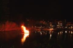 Greek Easter in Crete in Agios Nikolaos. Easter Night at Voulismeni Lake. Stock Image