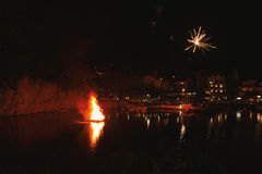 Greek Easter in Crete in Agios Nikolaos. Easter Night at Voulismeni Lake. Stock Image