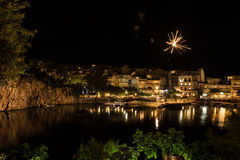 Greek Easter in Crete in Agios Nikolaos. Easter Night at Voulismeni Lake. Royalty Free Stock Image