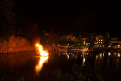 Greek Easter in Crete in Agios Nikolaos. Easter Night at Voulismeni Lake. Royalty Free Stock Photos