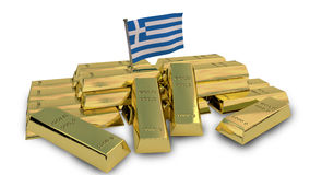 Greek economy concept with gold bullion Stock Photo