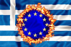 Greek economy disaster stock illustration