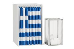 Greek election concept, ballot box and voting booths with flag o Stock Images