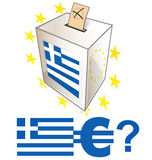 Greek election day with urn Royalty Free Stock Photos