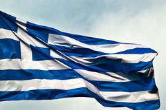 Greek ensign. Flagging in the wind stock image